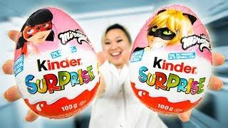 Giant Miraculous Ladybug Kinder Surprise Egg toy DC Super Hero vs Joker Marvel Disney Tv Show