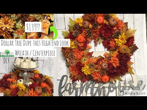 Dollar Tree DIY | Giant Autumn Wreath Hack | Fall 2019 DIY Decor 🍁🍂🌹