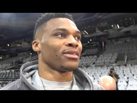 Russell Westbrook at shootaround