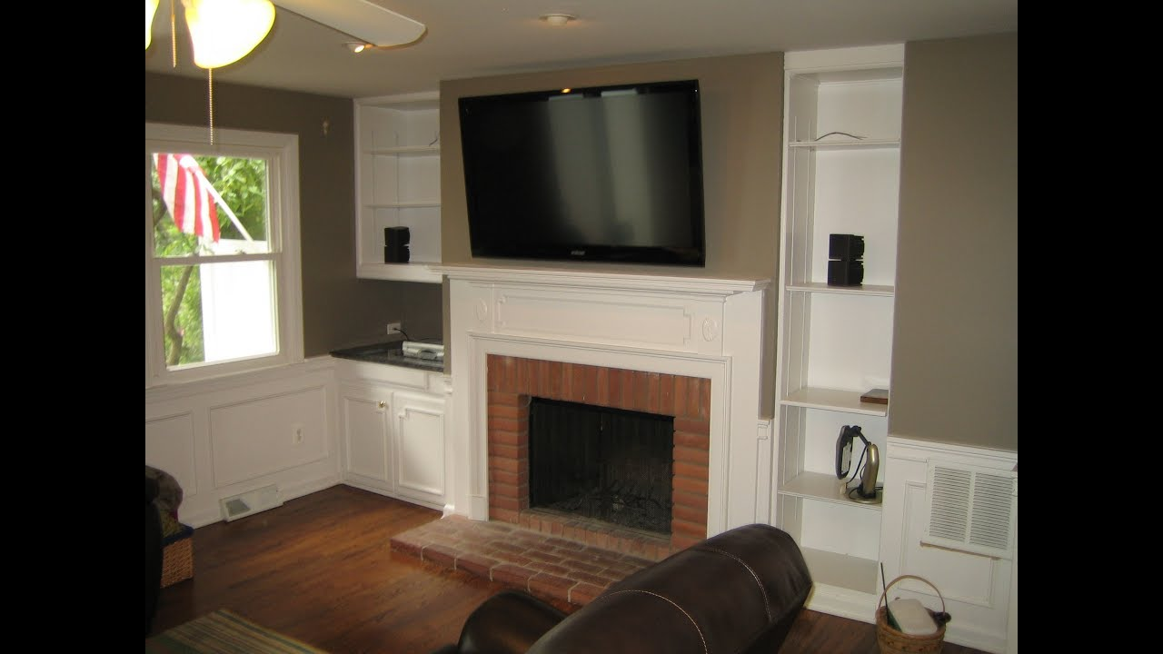 mounting tv above fireplace youtube. Black Bedroom Furniture Sets. Home Design Ideas