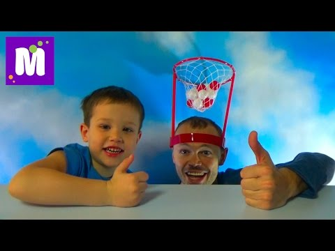 Баскетбол на голове играем шариками распаковка игрушки Basket Case headband hoop game unboxing
