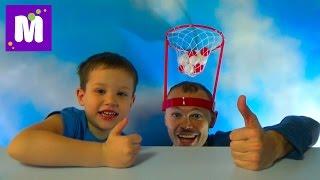 Баскетбол на голове играем шариками распаковка игрушки Basket Case headband hoop game