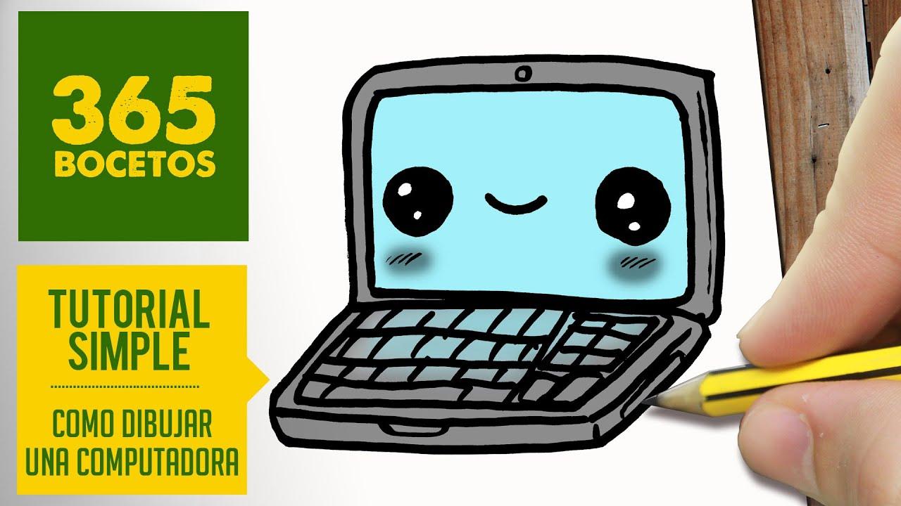Como dibujar una computadora kawaii paso a paso dibujos - Como hacer una mesa de ordenador ...