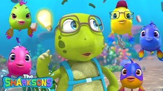 5 Little Fishes Story! SHARKSONS   Nursery Rhymes & Kids Songs!   أغنية اللغة الإنجليزية