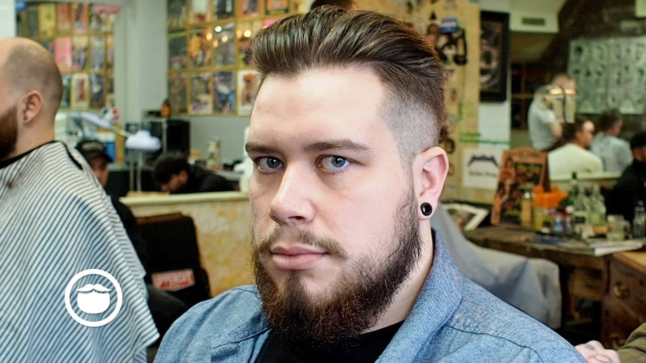 Men S Undercut Quiff Haircut With Beard Maintenance Trim Youtube