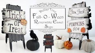 Dollar Tree DIY / Reversible Easel Sign / Fall & Halloween Sign