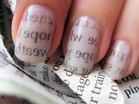 Newspaper Nail Art / Газетный принт на ногтях