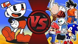 CUPHEAD vs THE WORLD! (Cuphead vs Saitama, Goku, Sans, Mario, Sonic, Bendy & More!) Cuphead Cartoon