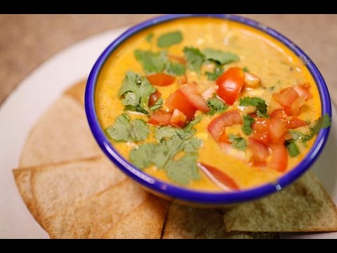 Skinny Queso Dip with Baked Tortilla Chips - YouTube