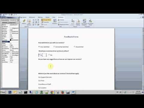 How to create radio/option buttons, text boxes and check boxes in Microsoft Word