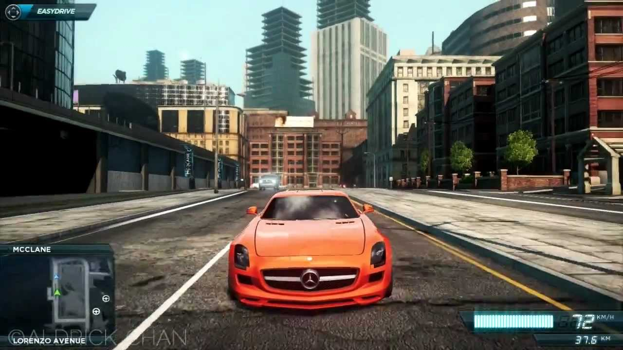 orange mercedes-benz sls amg!! need for speed most wanted 2012 [hd