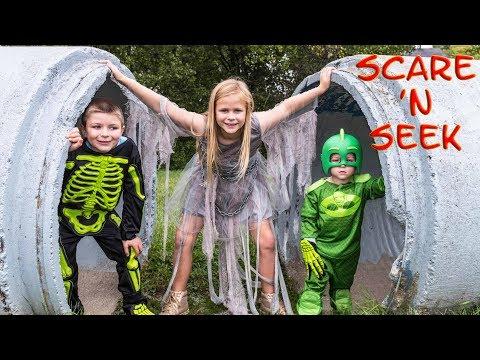 PJ MASKS Assistant and Ryan Batboy Play Scare n Seek Spooky Halloween Game