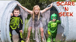 PJ MASKS Assistant and Ryan Batboy Play Scare n Seek Spooky Halloween Game