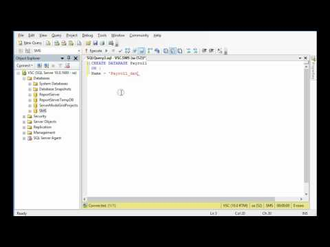 How to create SQL server 2008 database