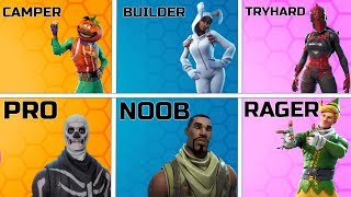 Every Fortnite Stereotype! (Noob, Tryhard, Camper, Pro, Hacker)