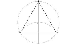 Triángulo equilátero inscrito en una circunferencia