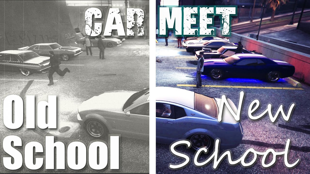 OLD Vs NEW School Muscle Car Meet on Gta V - YouTube