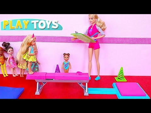 Barbie Girl Gymnastics Class with Chelsea and Skipper Baby Dolls! 🎀