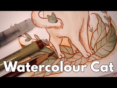 Soft Cat Watercolour & Mixed Media Speedpaint
