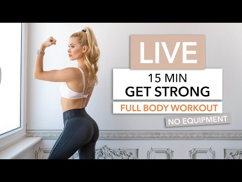 15 MIN GET STRONG WORKOUT Let's Train Together / No Equipment I Pamela Reif