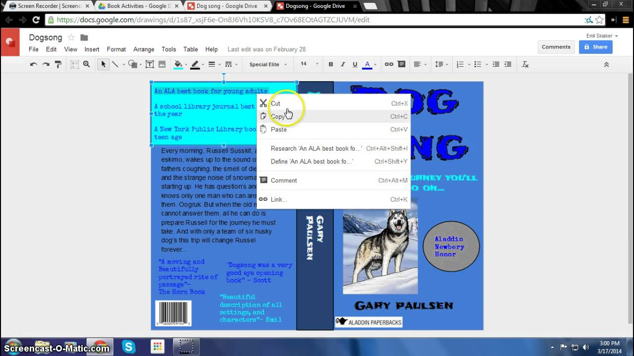 how to make a digital book jacket in google drawing youtube. Black Bedroom Furniture Sets. Home Design Ideas