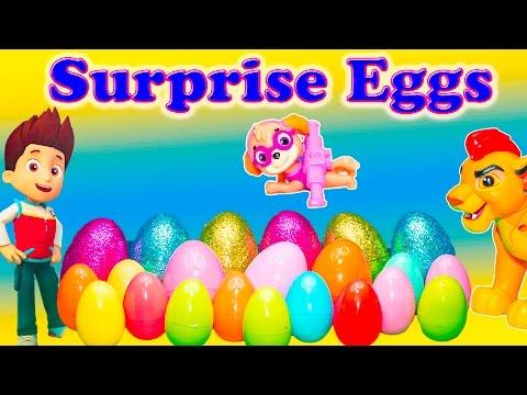 SURPRISE EGGS Disney Lion Guard + Paw Patrol + Doc McStuffins + Sofia  the First Surprise Egg Video