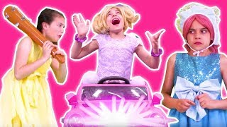 ESME GOES BACK TO THE FUTURE: Time Travel In Power Wheels Car - Princesses In Real Life | Kiddyzuzaa