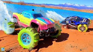 RC CAR CUSTOM SAND TIRES DRIVE ON WATER CHALLENGE!