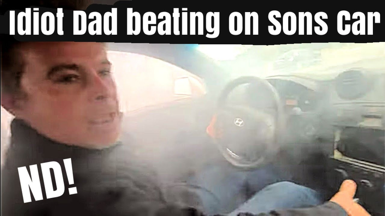 Idiot Dad Caught Doing Burnout In His Kids First Car! Terrible Dad! Neutral Drop!