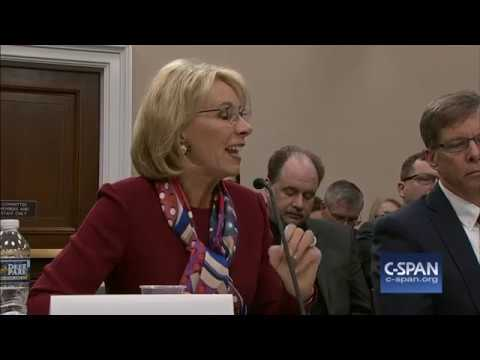 Secretary Betsy DeVos answers question on her grizzlies comments (C-SPAN