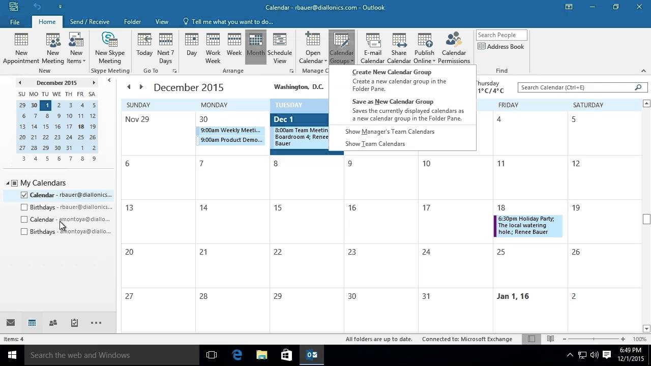 how to add o365 calendar to outlook 2016