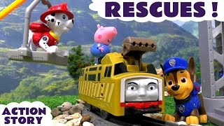 paw patrol rescues thomas friends and peppa pig english episodes   training centre toy unboxing