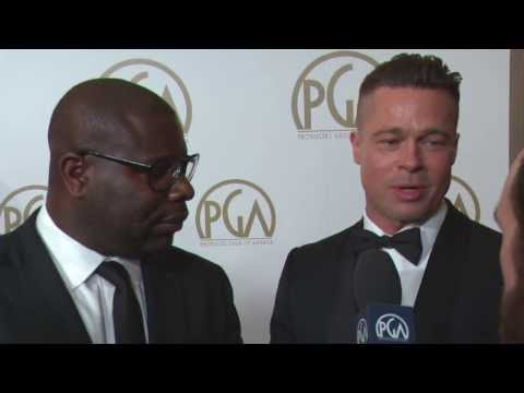 Brad Pitt, Steve McQueen, and Chiwetel Ejiofor with ShayCarl on the Producers Guild Red Carpet