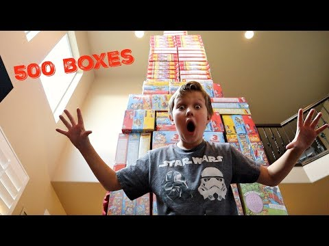 WORLDS TALLEST Cereal Box TOWER!! 500 Cereal Boxes