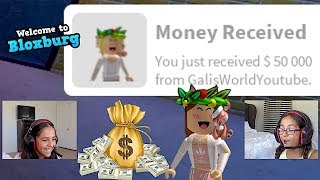 DONATING 50K TO MY BFF! ON BLOXBURG HER REACTION THO 🤪 FAMBAM GAMING | ROBLOX GAMES