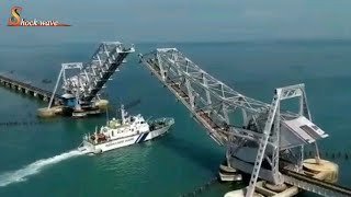 pamban bridge rameshwaram | world\'s most dangerous ship-rail bridge, india | shock wave