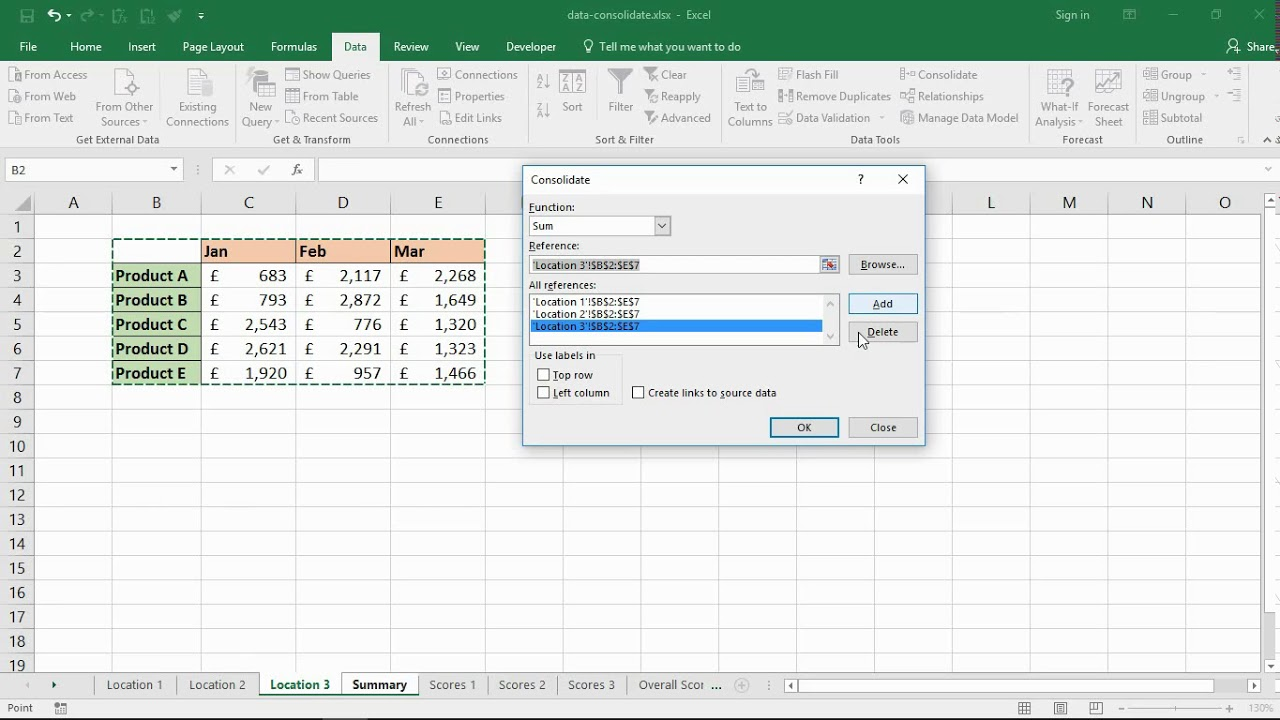 Consolidate Worksheets In Excel With Data Consolidation