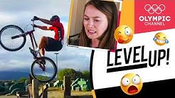 Cycling world champion reacts to crazy mountain biking videos (ft. Kate Courtney) |Level Up!