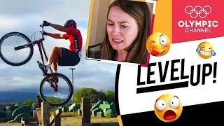 Kate Courtney reacts to crazy mountain biking videos |Level Up!