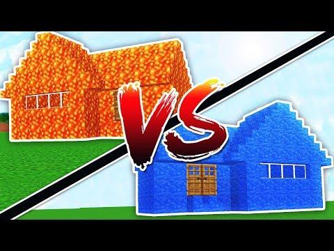 WATER HOUSE VS LAVA HOUSE - MINECRAFT
