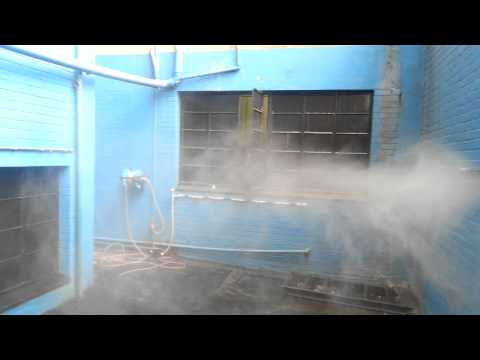 Monitor Engineering 1/4M-6 Misting nozzles spraying at 35 Bar