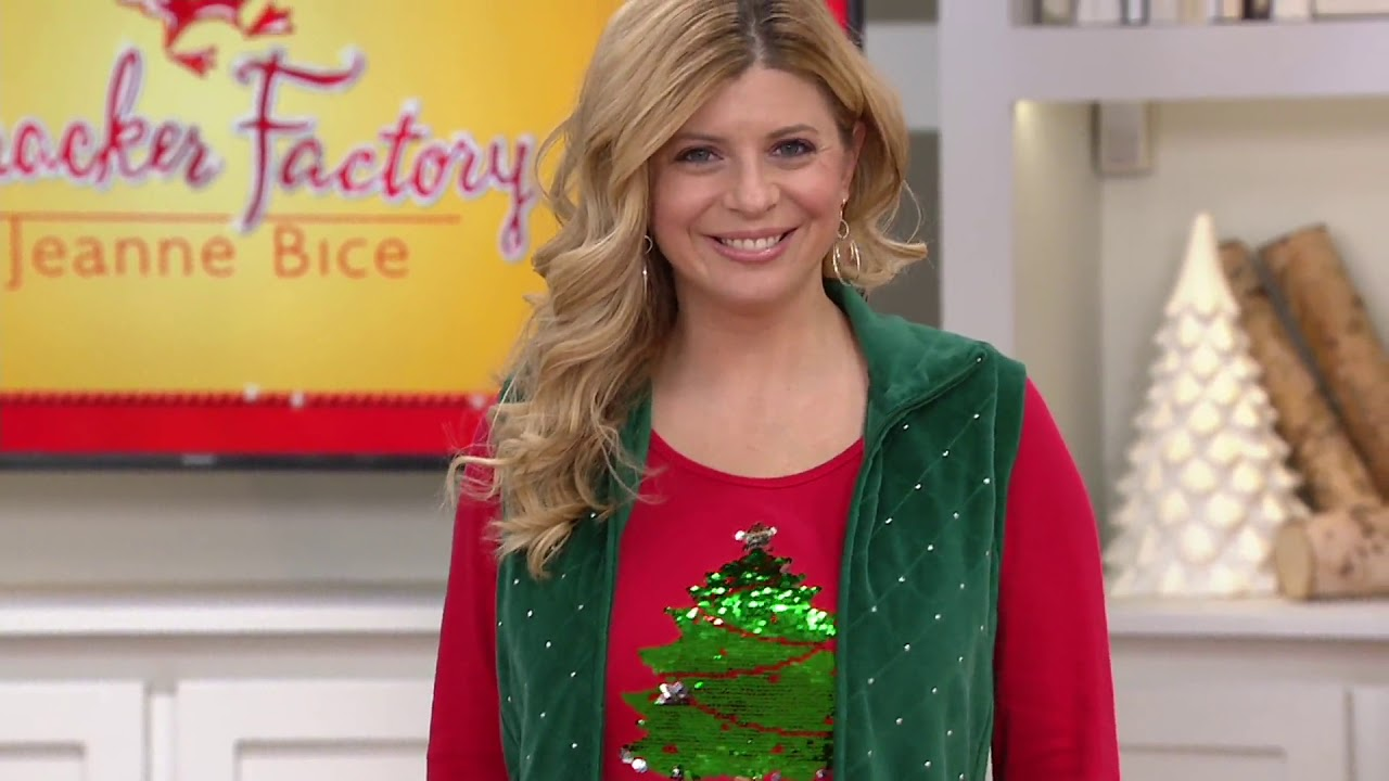 Quacker Factory Reversible Sequin Christmas Tree Knit Top On Qvc