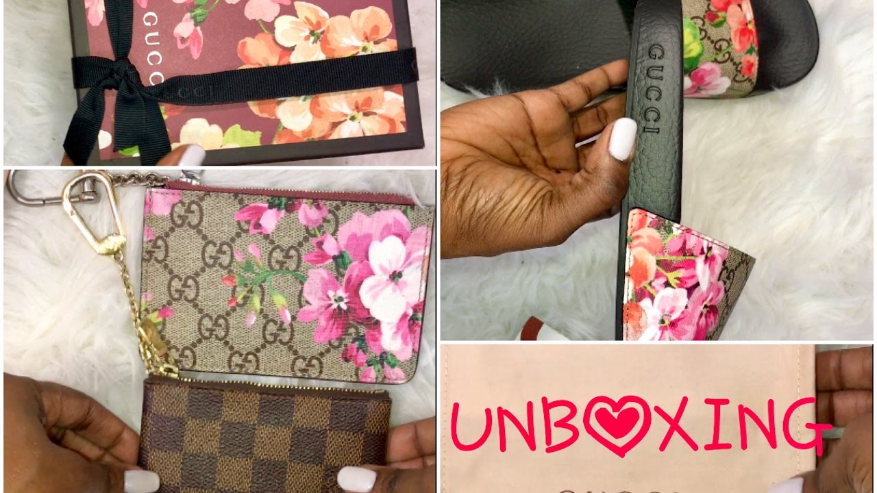 d0f75353fa24 GUCCI GG BLOOMS UNBOXING| SLIDES| CARD CASE & KEY CASE w/ LV KEY CLE  COMPARISON - YouTube