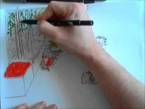 Apprendre O Jardins  Esquisse DUn Plan De Terrasse  Youtube