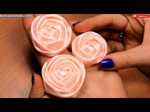 Как сделать розу из атласной ленты для свадебного букета? Мастер класс / DIY Satin Ribbon Rose