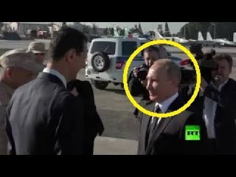 شاهد لحظة وصول بوتين الى سوريا وكيف تصرف بشكل غريب جداا مع بشار الاسد !!!