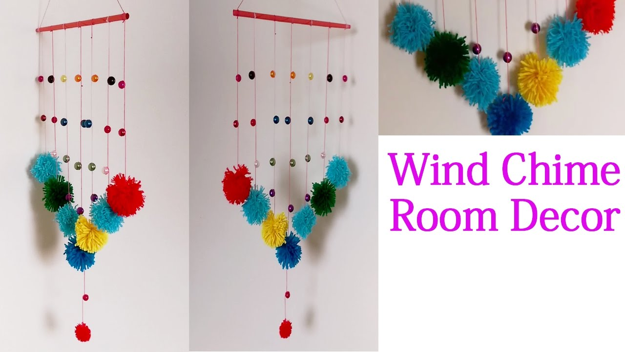 Pom Pom Wall Hanging diy wind chime room recor - pom poms wall hanging crafts