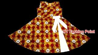 Kids Simple Tie Bow Baby Girl Dresses Cutting and Stitching | DIY Very Simple Girls Frock