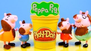 Play Doh Peppa Pig How To Make A Garden Daddy Pig and George Playing In Mud Playdough Episode