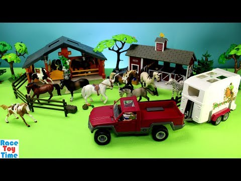 Horse Trailer Schleich and Farm Animals Barn Stable Playset - Build and Play Fun Toys For Kids